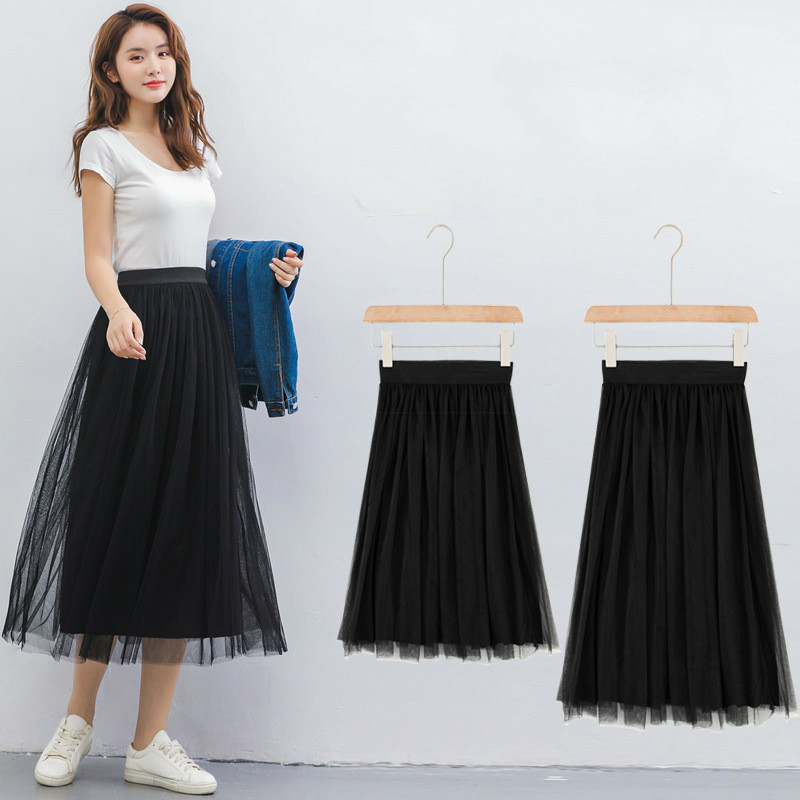 Mesh Skirts summer 2019 new arrival High Waist pleated skirts two layers of  mesh and one layer lining women