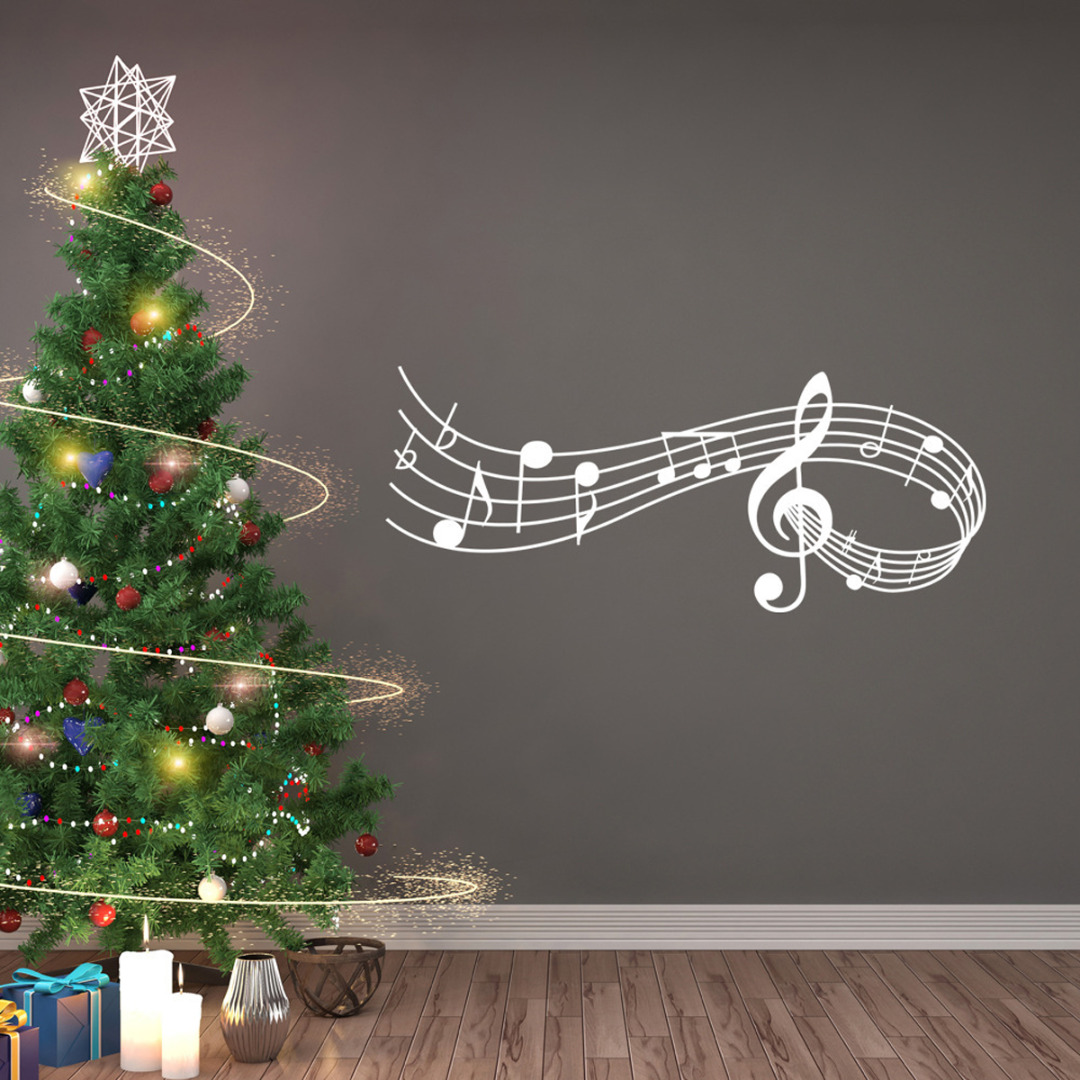 US $1 99 30% OFF|1pcs Music Songs Sound Notes Melody Wall Decal Bedroom  Office Christmas Musical Wall Door Window Sticker Decor-in Wall Stickers  from