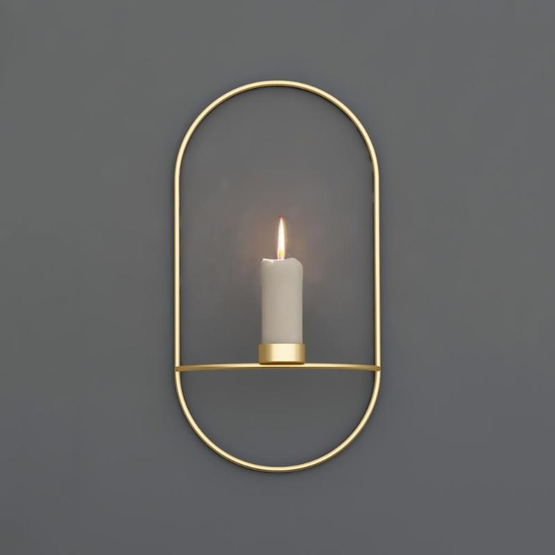 19cm Candle Holder 3D Metal Wall Mounting Candlestick Sconce Home Decoration