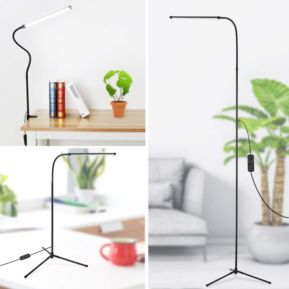 3 in 1 Dimmable Standing LED Floor Lamp with C Clamp Tripod Base Eye Care Reading Desk Lamp with Flexible Gooseneck for Study
