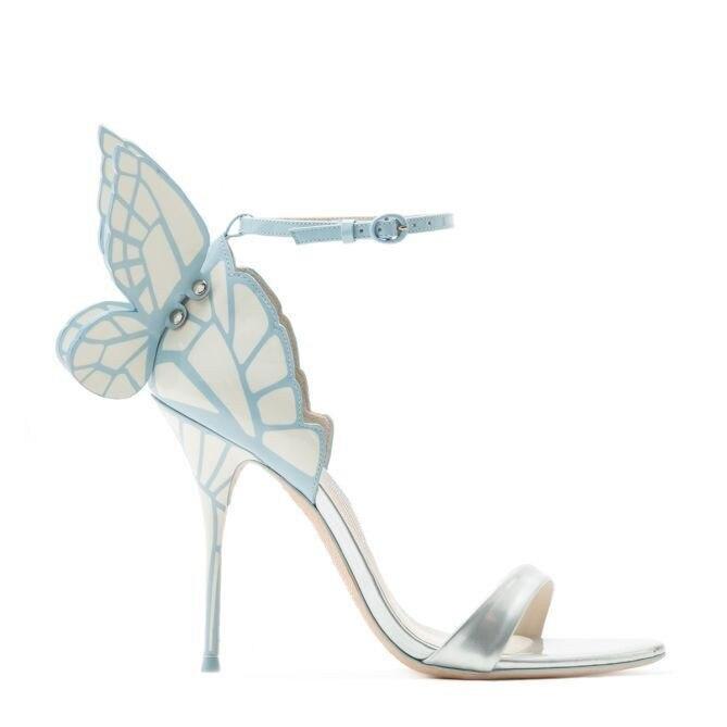 Sandales De Doux Clair Aile Dames Argent Mode Talons Sexy En Mariage D'été Hauts Bleu Papillon Cheville Cuir Lanières Boucle Femmes xf6qa61Z