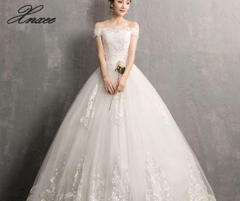 Xnxee De lujo De encaje bordado 2019 vestidos 100cm De largo tren Sweetheart elegante Vestido De novia De talla grande-in Vestidos from Ropa de mujer    1