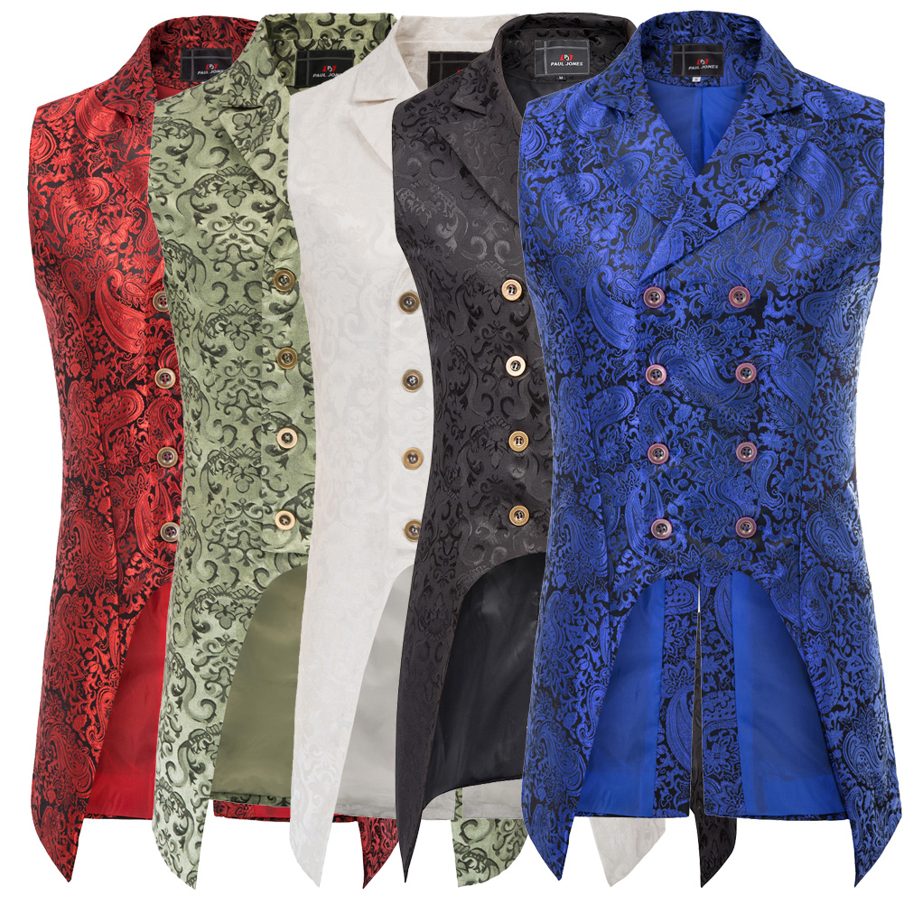 vintage style Men coats medieval Steampunk Gothic Sleeveless Lapel Collar Double Breasted formal prom party Jacquard vintage style Men coats medieval Steampunk Gothic Sleeveless Lapel Collar Double-Breasted formal prom party Jacquard Coat
