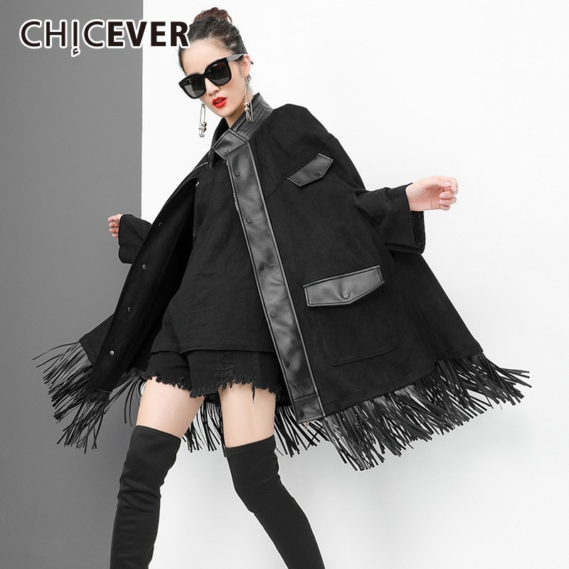 CHICEVER   Trench   Coat For Women's Windbreaker Turtleneck Batwing Long Sleeve Single Breasted Tassel Windbreakers Fashion Clothing