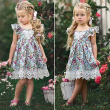 2019 New Flower Lace Dress Princess Kids Baby Girls Sleeveless Dress Floral Tulle Party Wedding Dress Children Summer Sundress baby girls summer dress kids floral sleeveless princess dress new brand fashion kids print dress for girls children ja 14
