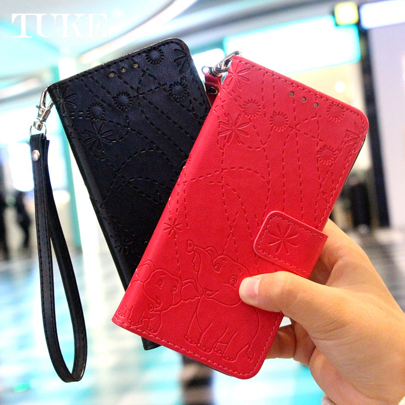 Leather Case For Nokia 6.1 7.1 Soft Silicone Cover Elephant Embossed PU Leather Flip Case For Nokia 6 2018 for Nokia 6.1 7.1