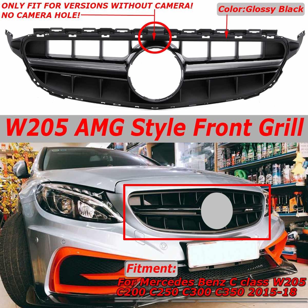 Garniture de couverture de Grille de calandre avant de voiture pour Mercedes pour Benz classe C W205 C200 C250 C300 C350 2015-2018 sans emblème pour le Style AMG