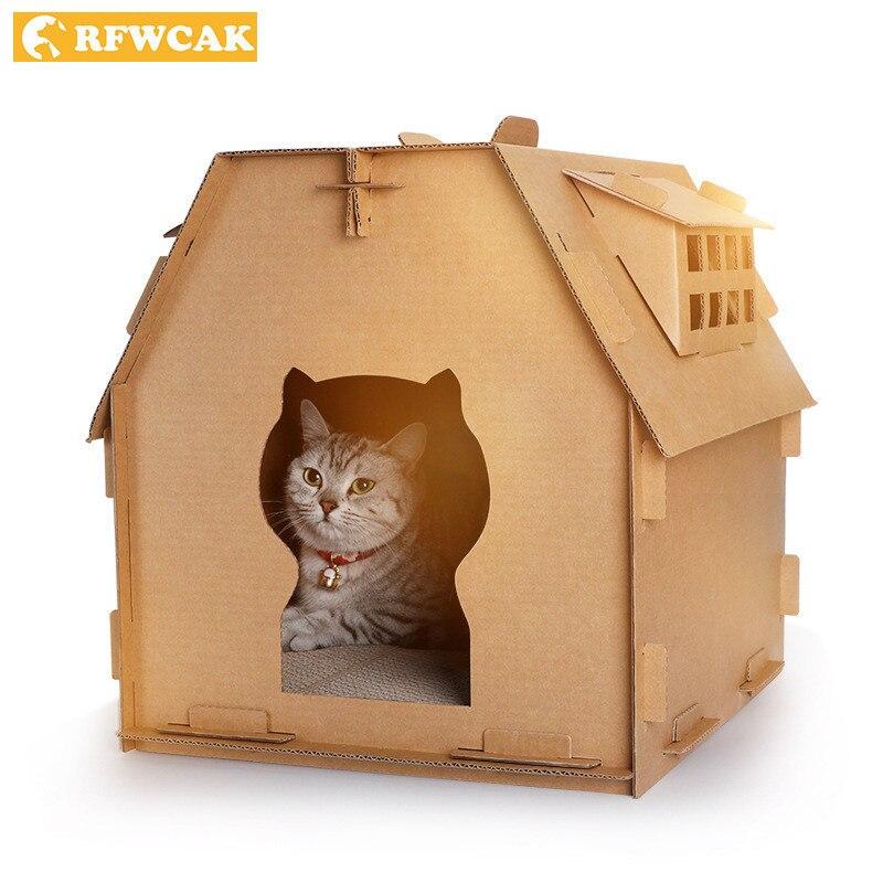 RFWCAK Carton ondulé animaux de compagnie chat tableau à gratter bricolage chat maisons lit tapis chat litière boîte chaton Carton jouets pour chat Pet produits