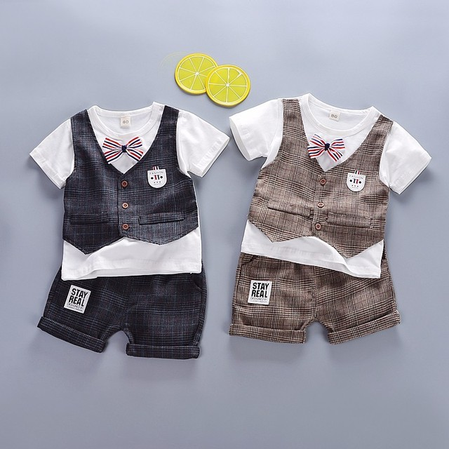 2019 Summer Children Baby Boys Cotton Clothes Infant Outfits Kid Gentleman Bowknot Tie T-Shirt 2pcs/Set Toddler Fashion Clothing