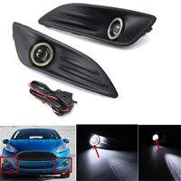1Pair Car Plastic Black Front Bumper Fog Light Angel Eyes Wiring Harness Daytime Running Light Kit for Ford Fiesta 2013 2016
