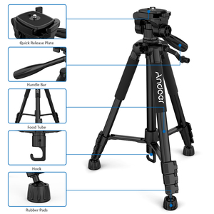 Image 2 - Andoer 2 Choice 57.5inch Travel Lightweight Camera Tripod for Video Shooting DSLR SLR Camcorder with Carry Bag Phone Clamp
