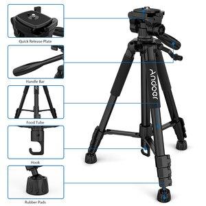 Image 2 - Andoer trípode ligero de viaje para cámara, 2 opciones, 57,5 pulgadas, para Grabación de Vídeo, DSLR, videocámara SLR, con bolsa de transporte, abrazadera para teléfono