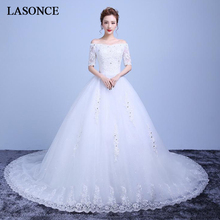 LASONCE Crystal Boat Neck Lace Appliques Ball Gown Wedding Dresses Illusion Half Sleeve Court Train Backless Bridal Dress