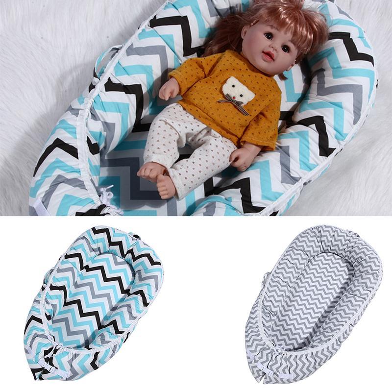 Portable Baby Sponge Bed Nest 360 Degrees Crib Bionic Bed Newborn Multi-Functional Travel Crib Infant Cotton Wave Print Mattress