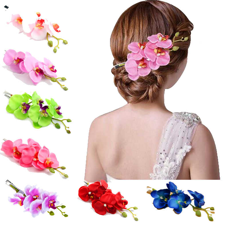 High Quality Hot Sale 1PC 8 Color Butterfly Orchid Hair Clip Artificial Flower Girls Women Trendy Hair Accessories Korean