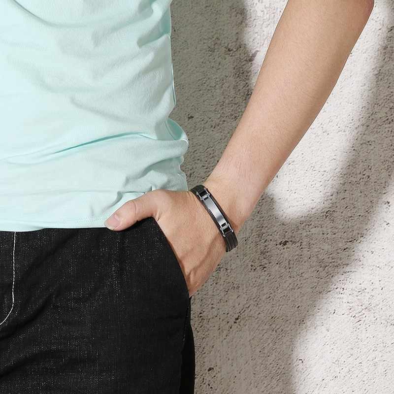 Niestandardowa bransoletka z prawdziwej skóry współrzędne grawerowane nazwa ID ze stali nierdzewnej spersonalizowane bransoletki tekstowe DIY ciemnobrązowa biżuteria