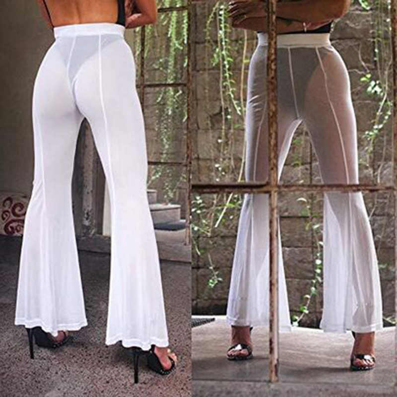 Dames Sexy Pantalon Maille Pantalon Flare Cover Up Maillots De Bain Transparent Beachwear Chaud