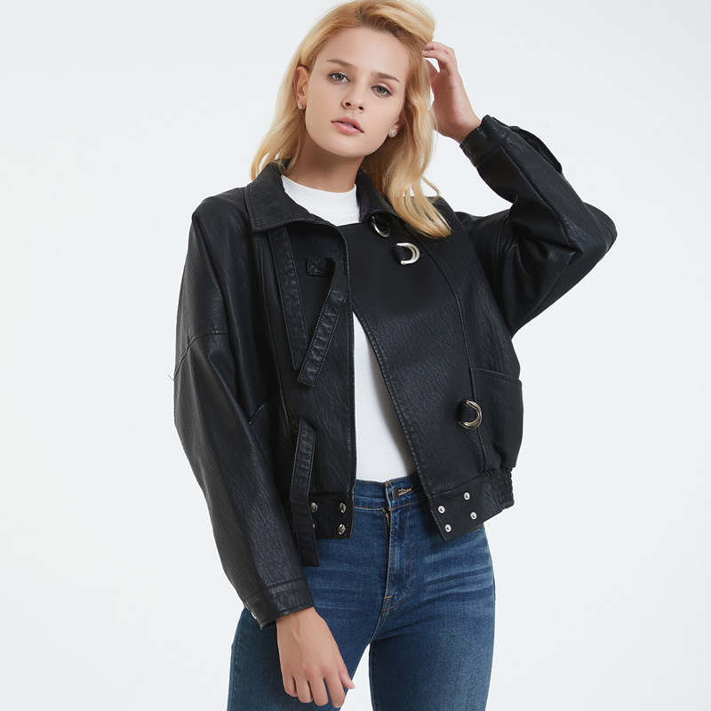 Casual Solid Short Faux Leather Jacket for Women Fashion Turn-down Collar Motorcycle PU Leather Jacket Pockets Coats