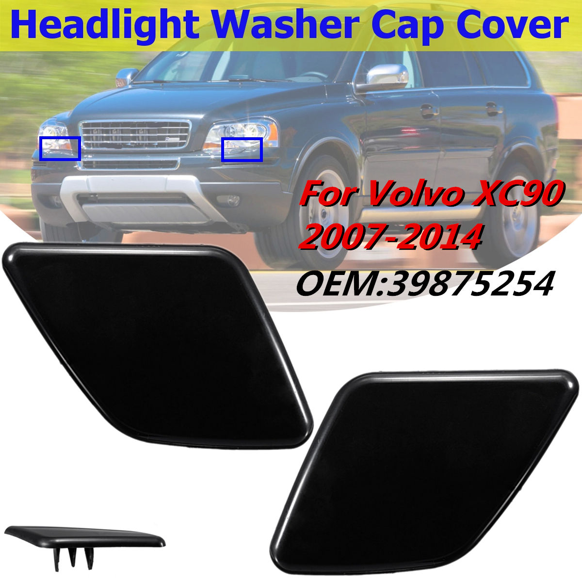 beler Left Headlight Washer Cover Cap Front Bumper Trim Fit for VOLVO XC90 2007-2014