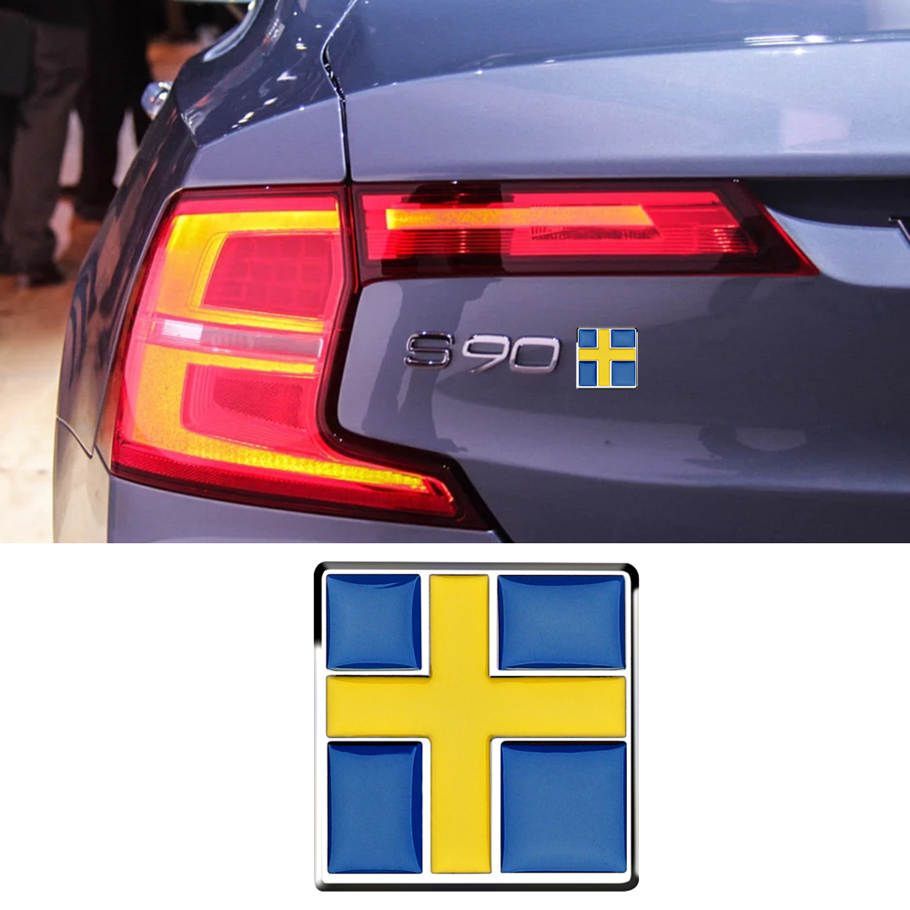 Matel Swedish Flag Insignia Logo Car Sticker 3D Exterior