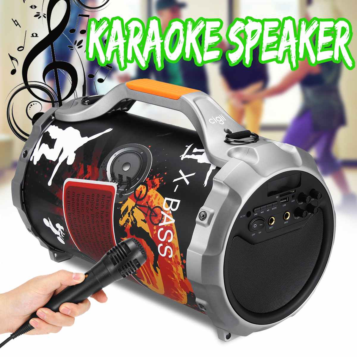 Large Power Wireless bluetooth Speaker Portable Stereo Bass Subwoofer Karaoke DJ Loud Music System +Microphone Outdoor FM AUX SDLarge Power Wireless bluetooth Speaker Portable Stereo Bass Subwoofer Karaoke DJ Loud Music System +Microphone Outdoor FM AUX SD