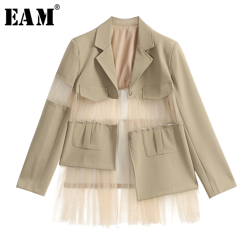 EAM 2019 New Spring Summer Lapel Long Sleeve Black Loose Hollow Out Mesh Perspective Loose