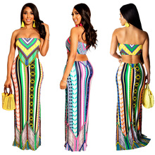 цены S3506 Cross-Border European And American Fashion Spring Summer Women Digital Print Strapless Sexy Resort Skirt