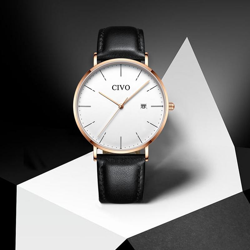 CIVO Mode montres classiques cuir véritable De luxe Chronographe Sport Date montre à quartz montres étanches Reloj De Hombre