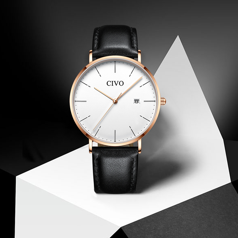 CIVO mode classique montres De luxe en cuir véritable chronographe Sport Date Quartz montre-bracelet étanche montres Reloj De Hombre