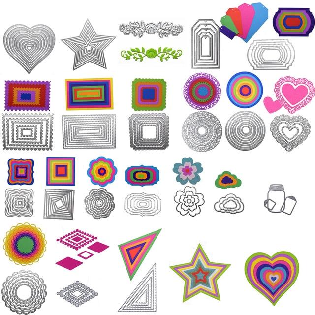 New Heart Rectangle Circle Metal Cutting Dies Set for Scrapbooking Die Cut Paper Card Diy die cutter