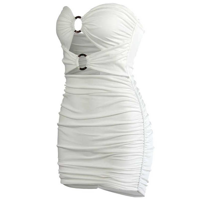 NewAsia Double couches ruché Mini robe femmes 2019 été hors épaule évider moulante robe de soirée tenue de club Sexy robe blanc