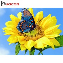 Huacan Diamond Painting Full Square Sunflower Embroidery Butterfly Cross Stitch Rhinestones Mosaic Sale Flower