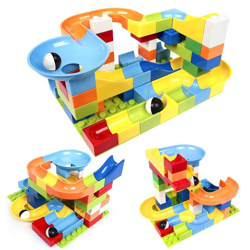 56 pièces Compatible Legoinglys Duplo marbre course course labyrinthe balle piste blocs de construction en plastique entonnoir diapositive grande taille briques bloc