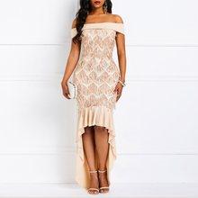 цены 2019 Women Maxi Dresses Sexy Slash Neck Party OL Ladies Plain Sequins Ruffles Dress Floor Length Female Spring Dinner Dress