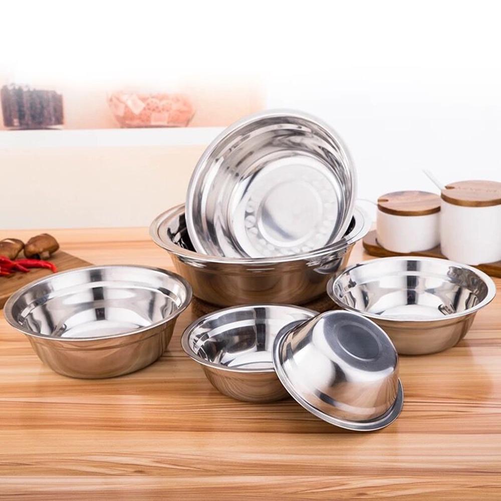 Tigela de Aço Inoxidável útil DIY Bolo Pão Mixer Salada Jantar Tigela de Arroz Prato de Sopa Rodada Cozinha Cozinhar Ferramentas 6 Tamanho 14-24cm