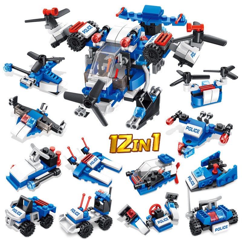 12 in 1 Building Blocks Police Figures Compatible Legoings City Enlighten Bricks Toys For Children Truck Helicopter Toy