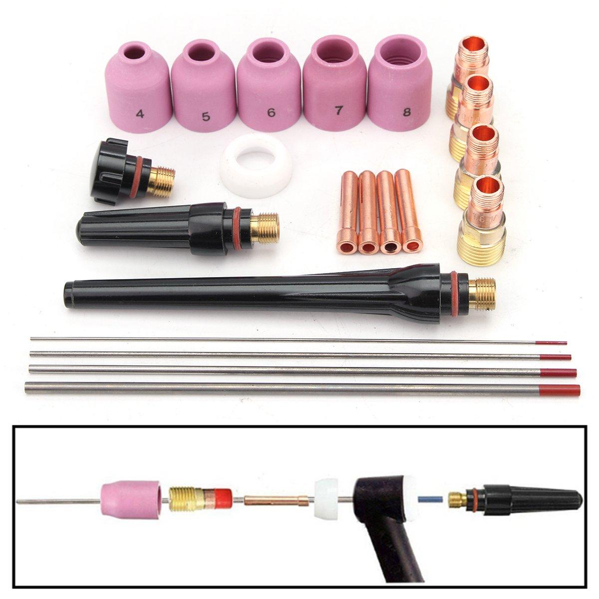 Werkzeuge 21 Teile/satz Wig-schweißbrenner Stubby Gas Objektiv Pyrex Wt20 Serie Werkzeug Für Tig Wp-17/18/26 MöChten Sie Einheimische Chinesische Produkte Kaufen?