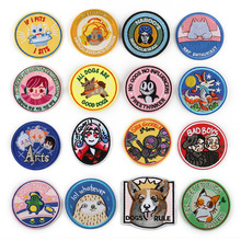 Cartoon Creative Animal circular badge Punk foxes Appliques Iron Clothes Bags Shoes Decor 3D Diy Adorable cat Owl Badges Patches