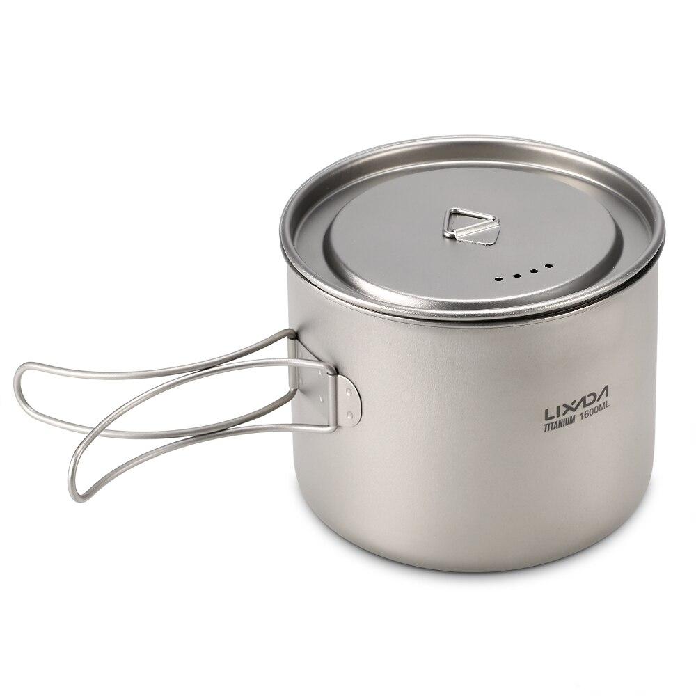 Pot de titane Lixada 1600 ml Pot de suspension Portable ultra-léger avec couvercle et poignée pliable pour Camping en plein air randonnée sac à dos