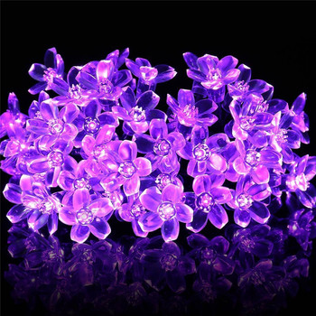 Cherry Blossom Flower Garland Battery Powered LED String Fairy Lights Crystal Flowers For Indoor Wedding Christmas Decors Purple 1