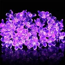 Kirschblüte Blume Girlande Batterie Powered LED String Fairy Lichter Kristall Blumen Für Indoor Hochzeit Weihnachten Dekore Lila