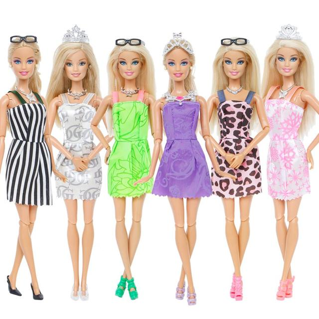 35/Set Doll Accessories =10 Pcs Doll Clothes Dress + 4 Glasses + 6 Plastic Necklace + 5 Crowns +10 Pairs Shoes for Barbie Doll