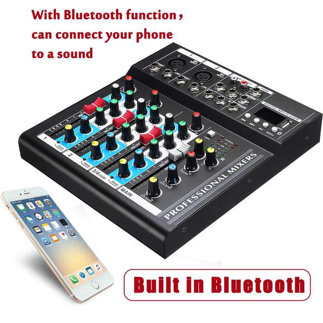 US $85 08  4 Channel 48V USB Portable DJ Mixer bluetooth Live Studio Audio  Sound Mixing Console Controller For Karaoke KTV Match Party DVD-in Karaoke
