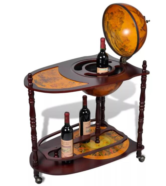 VidaXL Wood Freestanding Globe Bar Wine Stand With Plenty Of Room For Wine, Spirits, Beverage And Stemware For Home Or Bar image