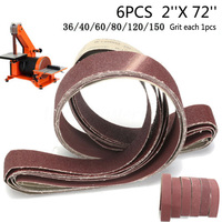 6 Pack 2x72 Sanding Belts 36/40/60/80/120/150 Grit Polishing Abrasive Band F