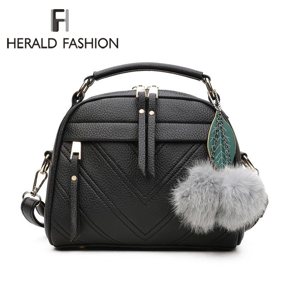 Herald Fashion Quality Leather Female Top-handle Bags Small Women Crossbody Bag Hair Ball Shoulder Bag Cute Messenger Handbags whosepet eiffel tower fashion ladies totes messenger bag female top handle bags women pu leather vintage bag small crossbody bag