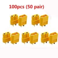 100 pces (50 pair) atacado xt60 masculino feminino bala conectores plugues para rc lipo bateria imax b6 bateria acessórios atacado
