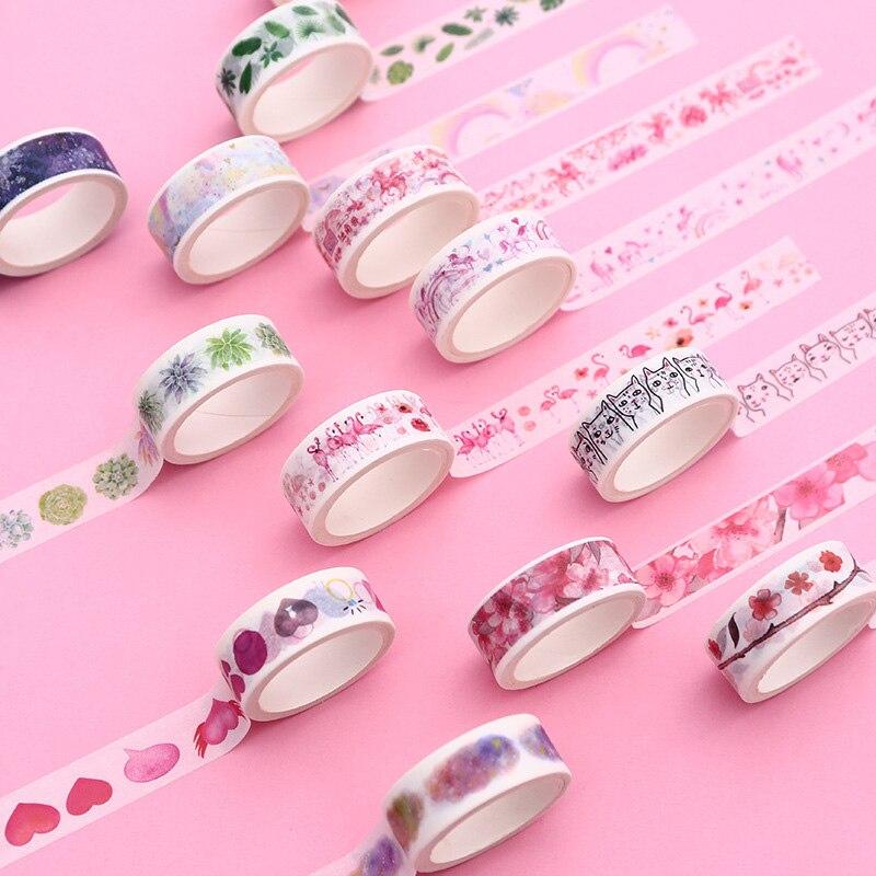 1PC Cute Cat Washi Tape Decorative Adhesive Tape Kawaii Flamingo Masking Tape For Kids DIY Scrapbooking Diary Photos Album