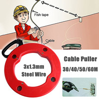 30/40/50/60M Steel Cable Push Puller Conduit Ducting Snake Rodder Fish Tape Wire Electrical Cable Railing Wiring Tools Kit