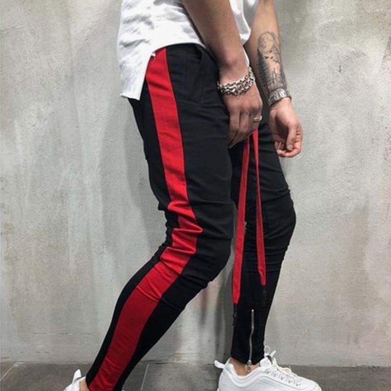 2018 New Autumn Mens Sweatswear Pants Printing Side Stripe Pockets Men Vintage Sweatpants